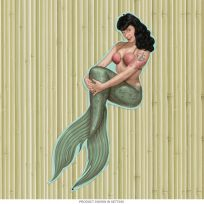 Bettie Page Mermaid Pin-Up Girl Cutout Sign