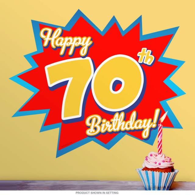 Happy 70th Birthday Party Wall Decal At Retro Planet