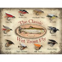 Classic Wet Trout Fly Fishing Lures Metal Sign
