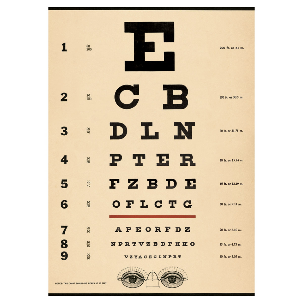 eye chart doctors office chart poster vintage style