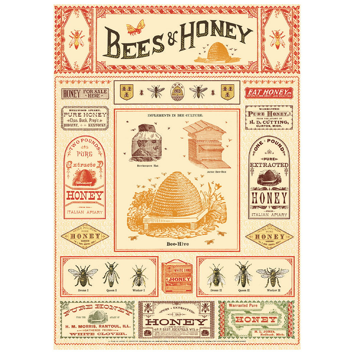 Bees And Honey Scientific Vintage Style Poster At Retro Planet