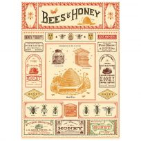 Bees And Honey Scientific Vintage Style Poster