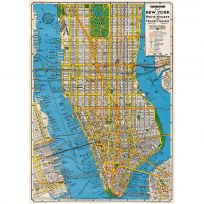 New York City Manhattan Map Vintage Style Art Poster