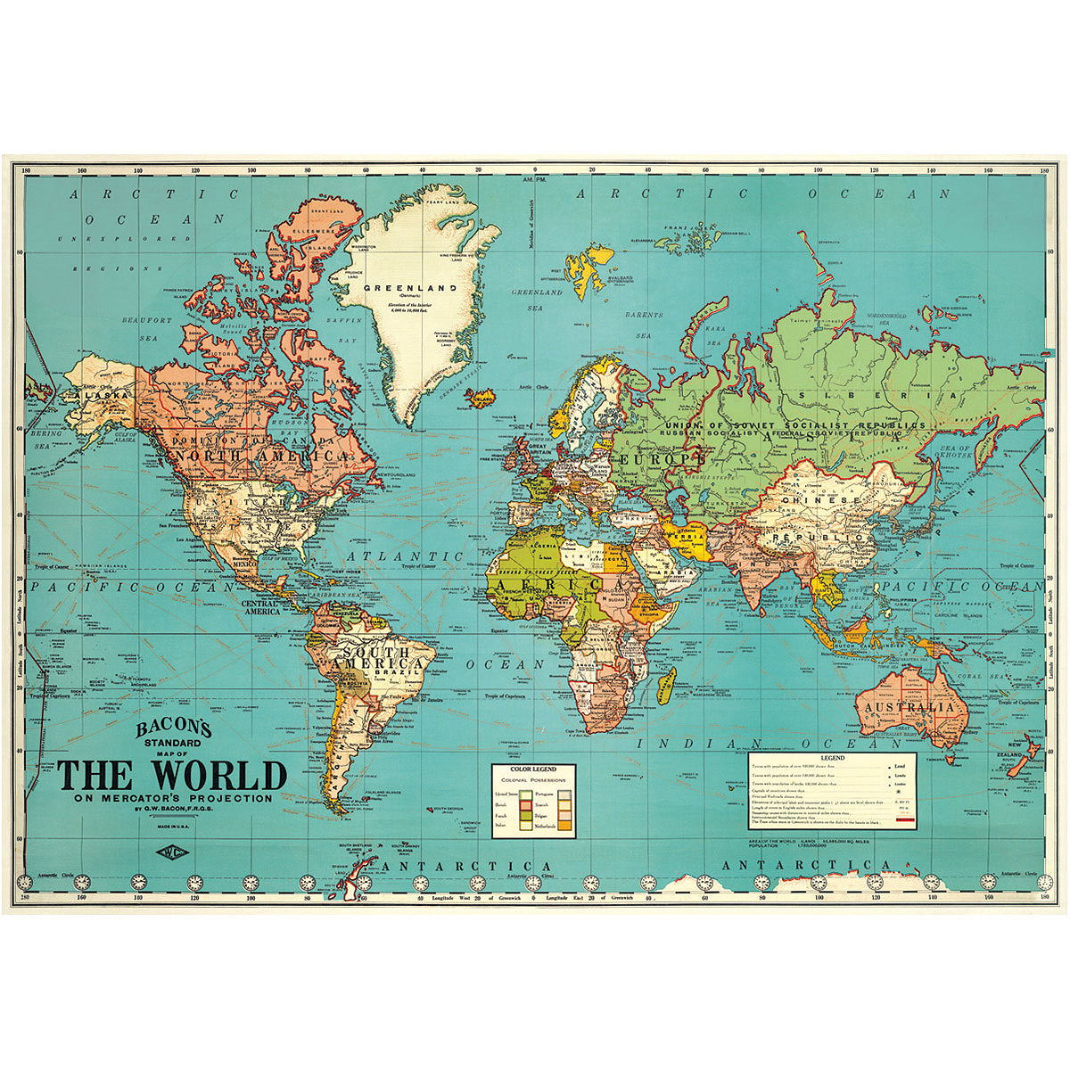 Bacons political world travel map poster vintage style paper political world map vintage art travel poster close gumiabroncs Images
