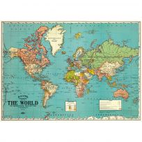 Political World Map Vintage Art Travel Poster