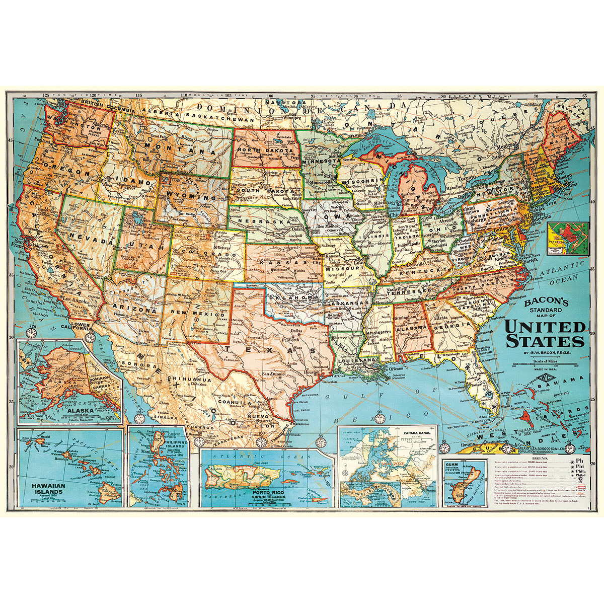 United States Travel Map Poster Vintage Style Paper - Vintage los angeles map poster