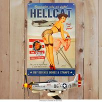 Hellcat F6F WWII Airplane Pinup Girl Metal Sign