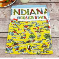 Indiana Map Flour Sack Cotton Kitchen Towel