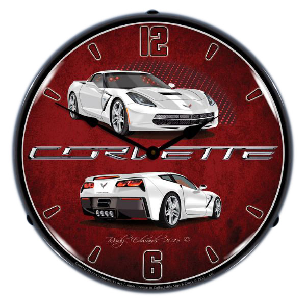 Chevrolet Corvette C7 White Light Up Garage Clock