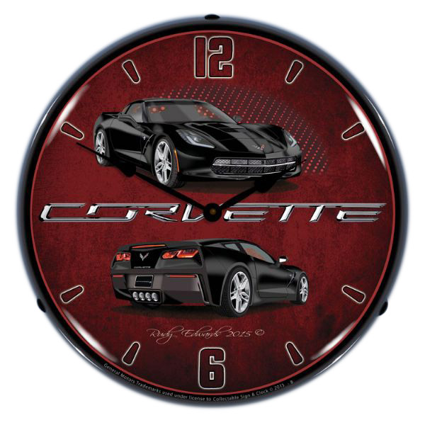 Chevrolet Corvette C7 Black Light Up Garage Clock