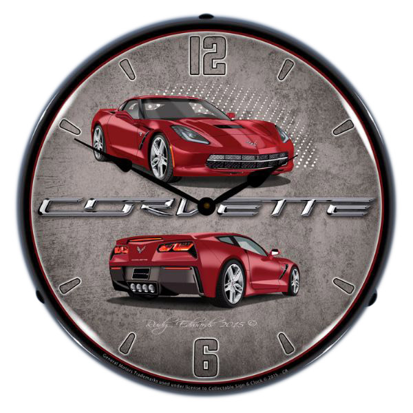 Chevrolet Corvette C7 Red Light Up Garage Clock