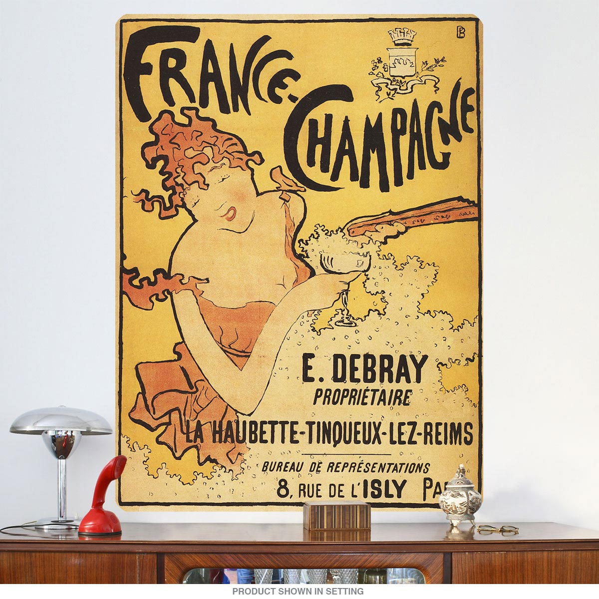 France Ch&agne Art Nouveau Wall Decal. close. VIDEO  sc 1 st  Retro Planet & France Champagne Art Nouveau Wall Decal | Vintage Style Bar Decor ...