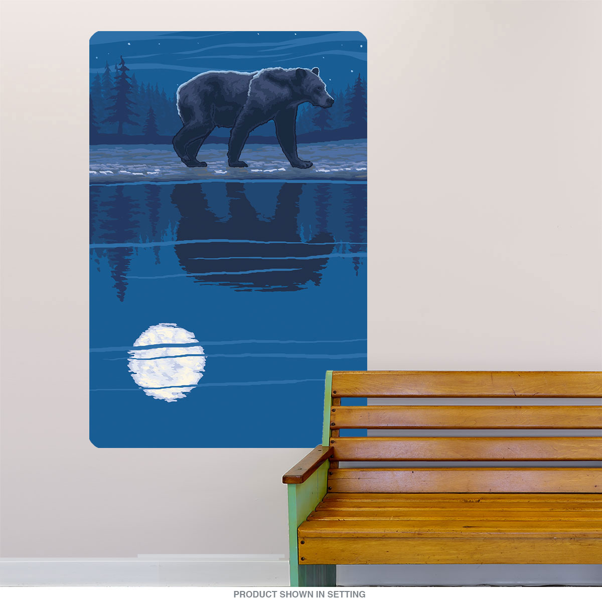 Grizzly bear moon lake reflection wall decal wildlife art decor close amipublicfo Image collections