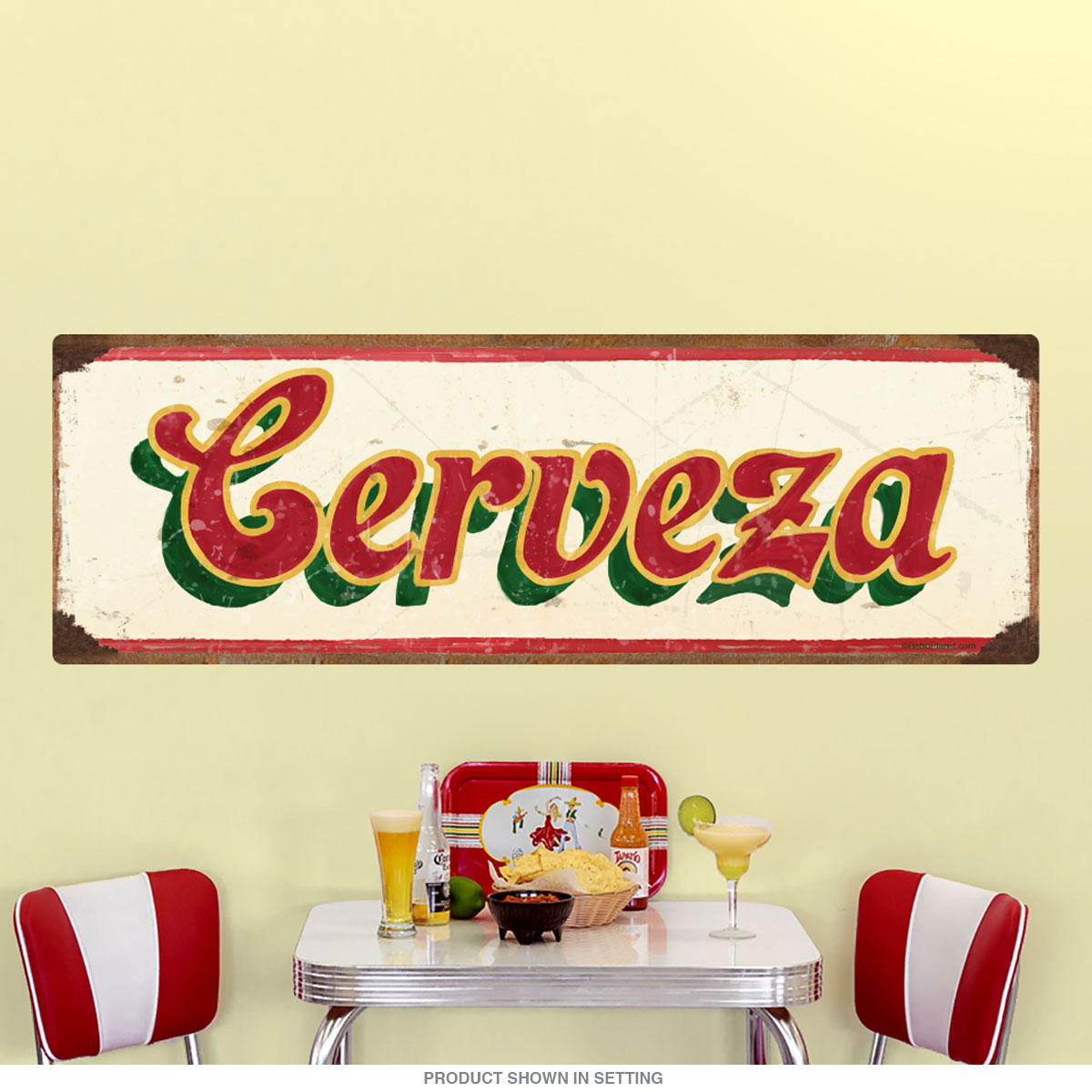 Cerveza Mexican Beer Wall Decal Cream | Kitchen Decor | RetroPlanet.com