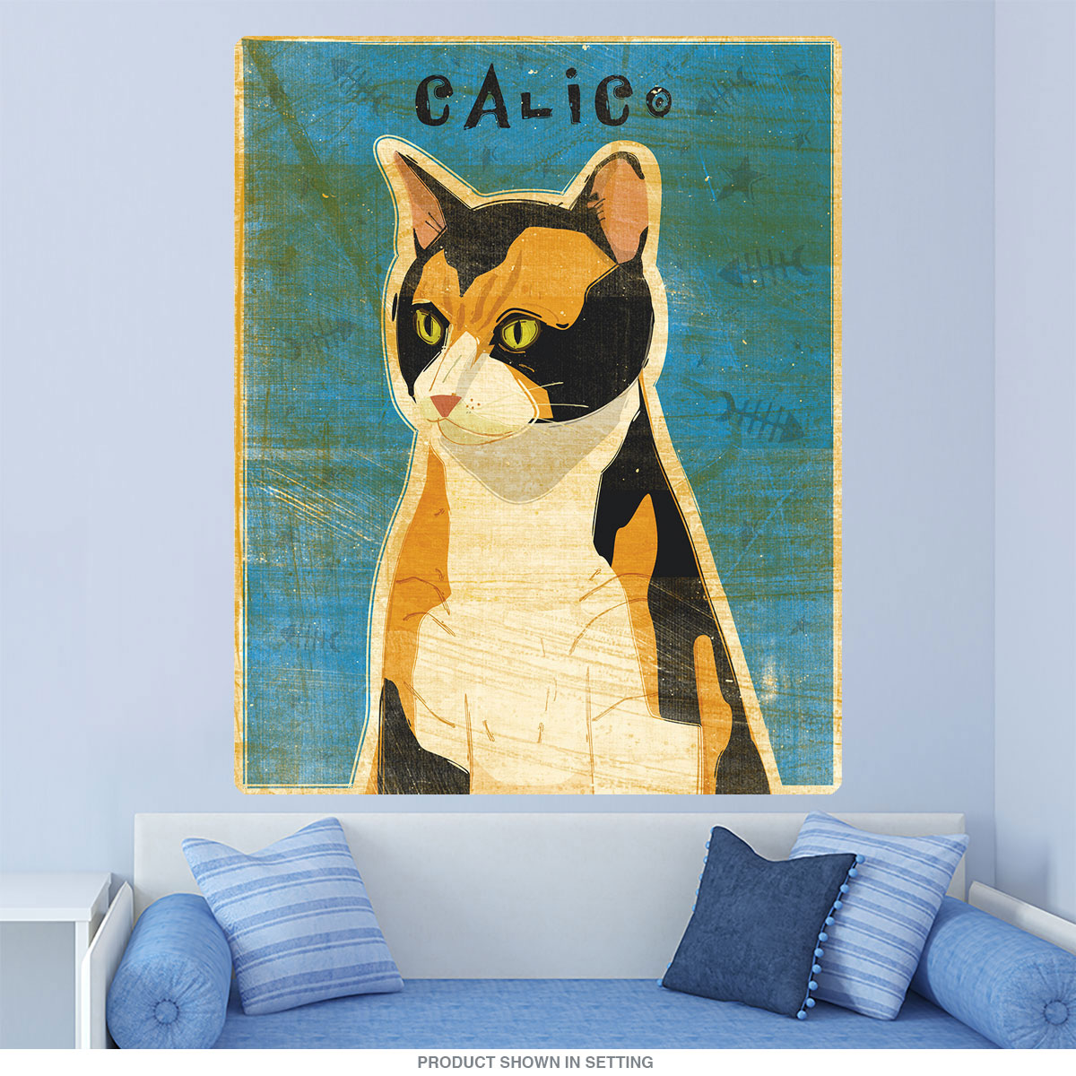 Calico Pet Cat Rustic Wall Decal at Retro Planet