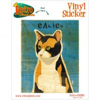 Calico Cat Rustic Vinyl Sticker