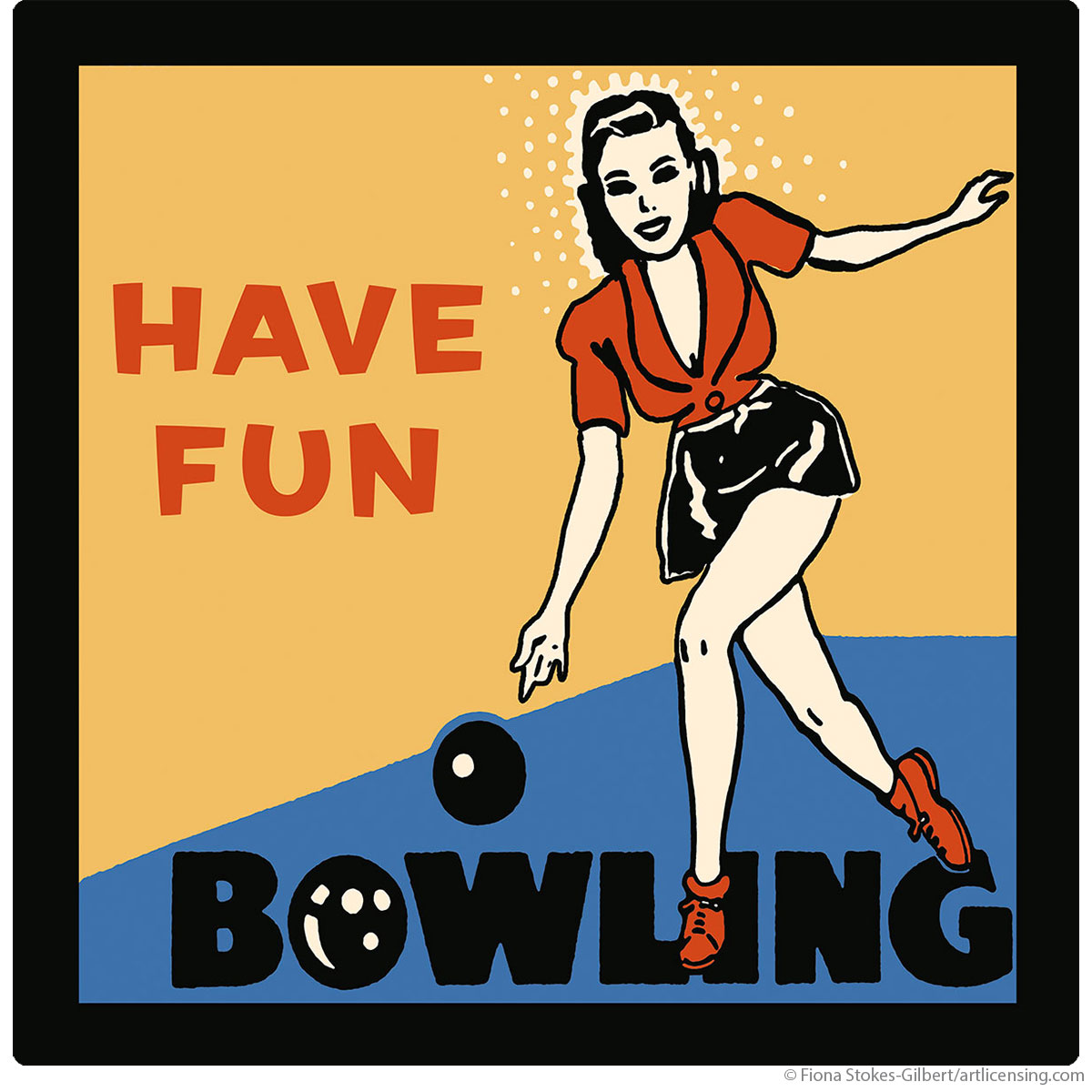 Bowling Have Fun Retro Sports Wall Decal | Vintage Style Wall Decor ...