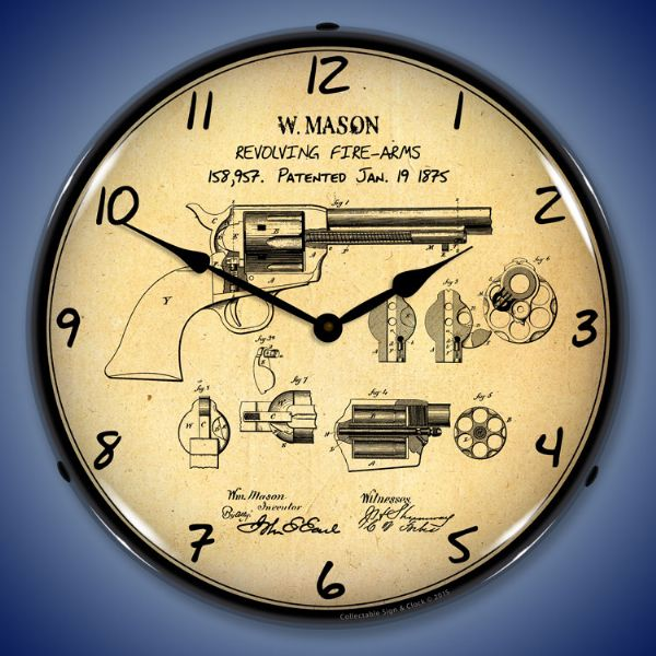 Colt Peacemaker Gun Patent Light Up Wall Clock At Retro Planet
