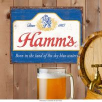 Hamms Beer Born In Sky Blue Waters Tin Sign