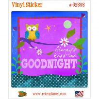Kiss Me Goodnight Owl Art Vinyl Sticker