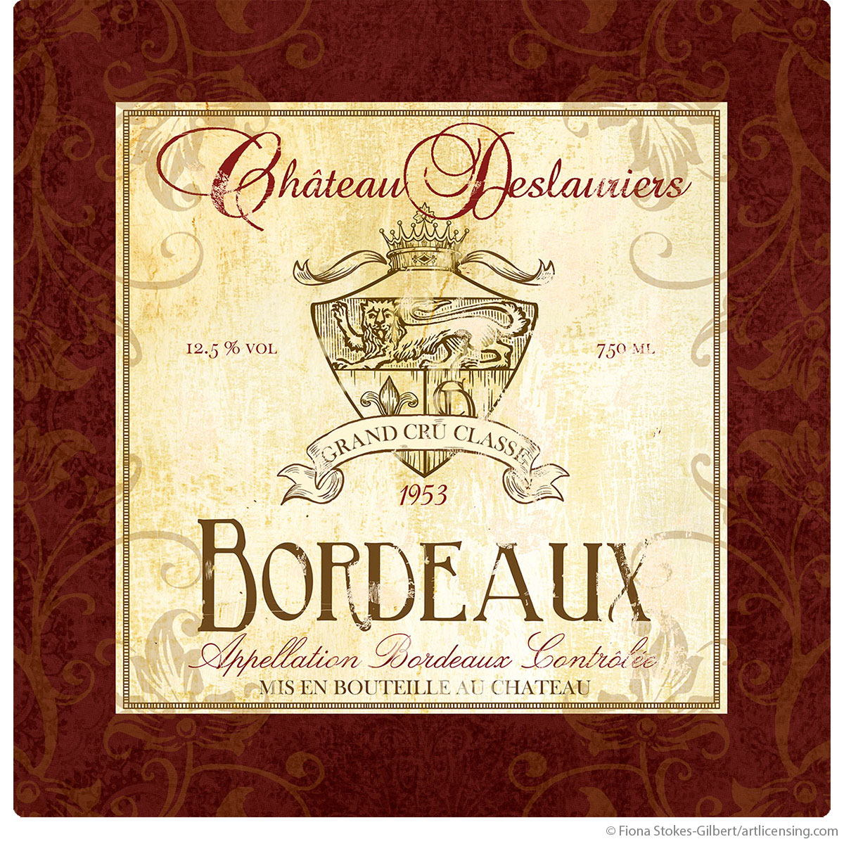 Bordeaux Wine Label Bar Wall Decal | Fiona Stokes-Gilbert ...