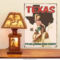 Texas Cowgirl Pinup Girl Metal Sign