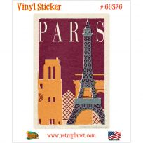 Paris France Attractions Vinyl Sticker