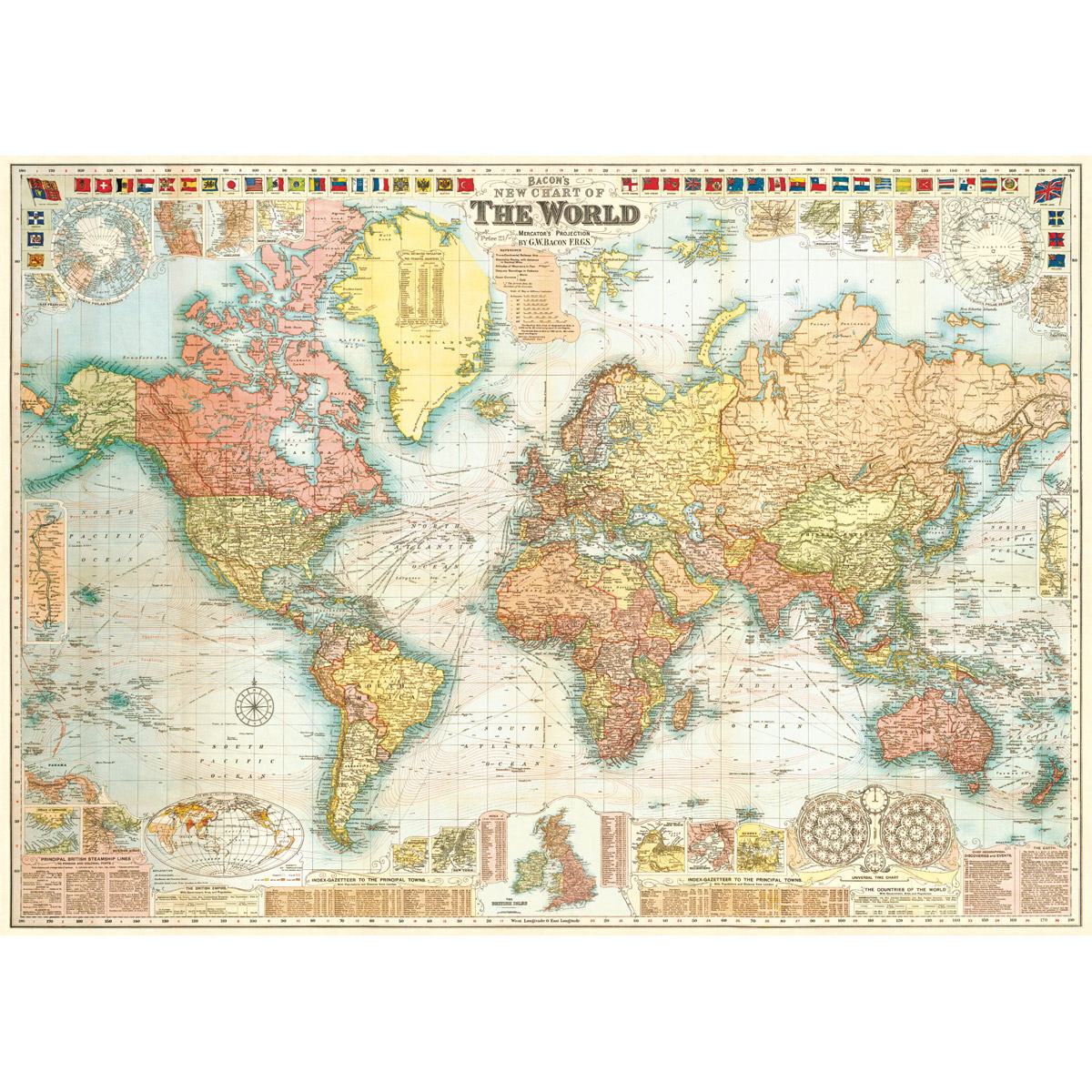 New Detailed World Map Vintage Style Poster At Retro Planet