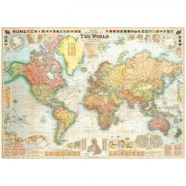 New Detailed World Map Vintage Style Poster