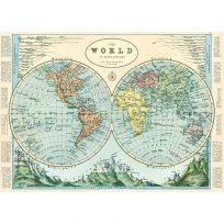 Hemispheres World Map Vintage Style Poster