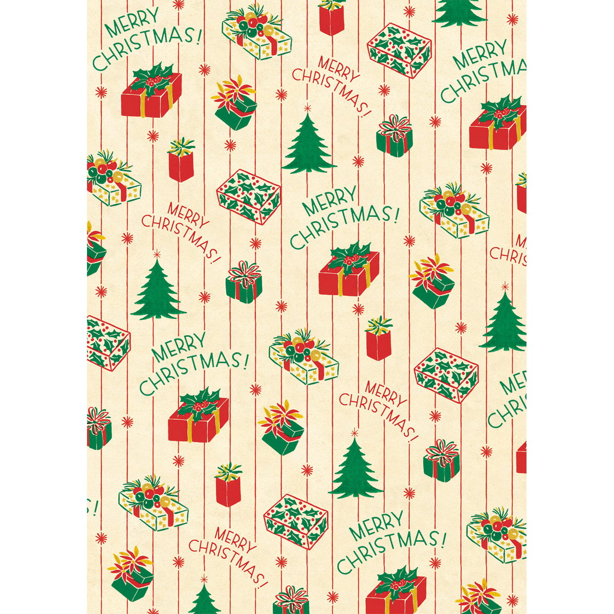 Christmas Presents Wrapping Paper Sheet
