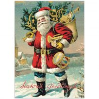 Old Time Santa Christmas Vintage Style Poster