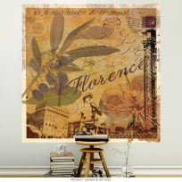 Florence Italy Postcard Olive Blackberry Wall Decal