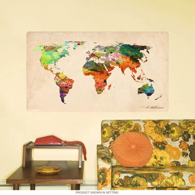 Paint Splatter World Map Wall Decal at Retro Planet