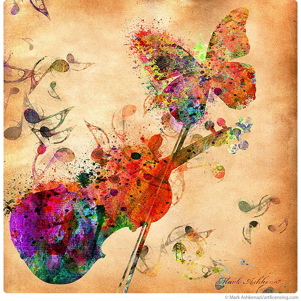 Rainbow Butterfly On Violin Wall Decal at Retro Planet