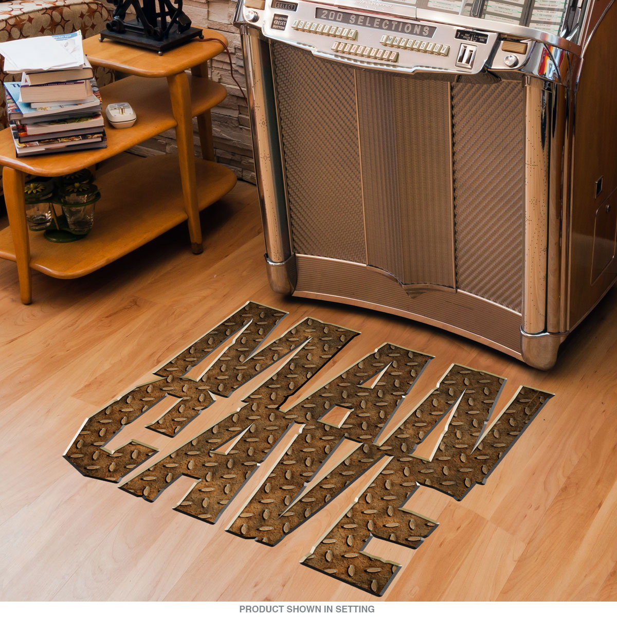 Zoom & Man Cave Rusty Diamond Plate Floor Graphic | Man Cave Decor ...