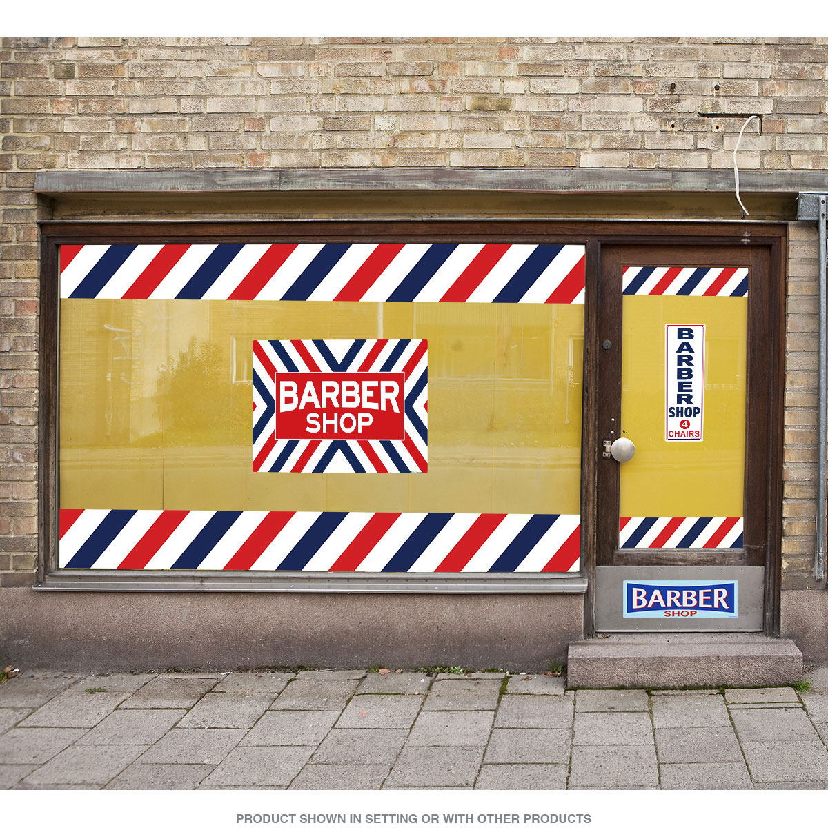 Barber Shop Stripes Border Outdoor Wall Decal | Business Decor ...