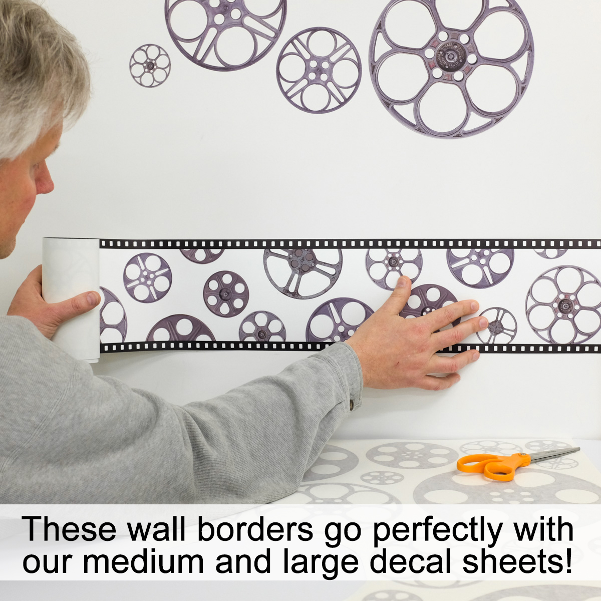 Film Reels Movie Theater Decorative Wall Decal Border Close VIDEO