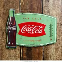 Coca-Cola Bottle Embossed Tin Thermometer Sign