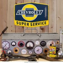 Chevrolet Service Embossed Tin Thermometer Sign