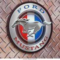 Ford Mustang Patriotic Round Embossed Tin Sign