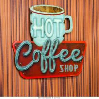 Hot Coffee Shop Embossed Kitchen Tin Sign