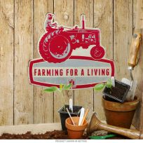 Farmall For A Living Embossed Tractor Tin Sign