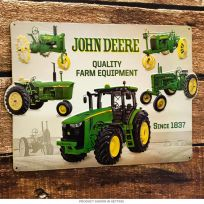 John Deere Tractor Collage Embossed Tin Sign