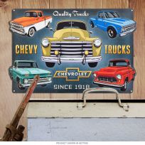 Chevy Trucks Since 1918 Collage Embossed Tin Sign