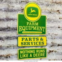 John Deere Farm Parts & Services 3-Piece Embossed Tin Sign