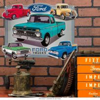 Ford Trucks Collage Embossed Garage Tin Sign