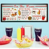 On The Menu Diner Food Prices Tin Sign