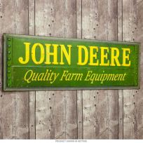 John Deere Quality Embossed Tin Sign Distressed