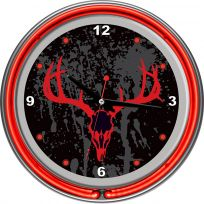 Hunt Deer Skull Neon Clock Double Ring